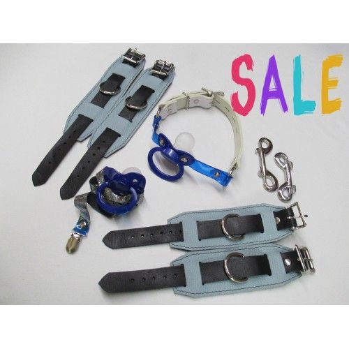 Blues Leather Pacigag, Wrist & Ankle Restraint Cuffs, Large Paci & Holder Strap (Code Z8),